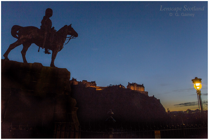 Royal Scots statue, Princes Street Gardens, dusk