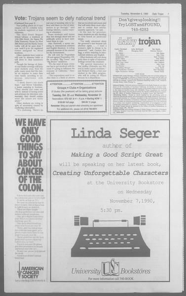 Daily Trojan, Vol. 113, No. 45, November 06, 1990