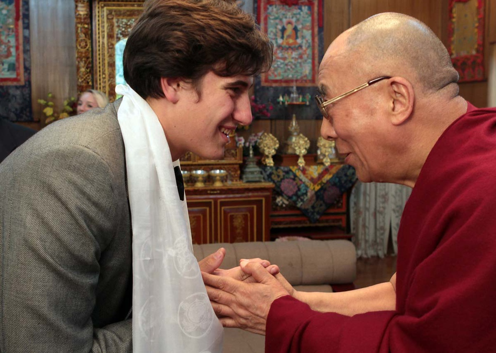 . Mount Madonna School senior Bryson Smith is blessed by His Holiness the Dalai Lama after he and his classmates interviewed the Tibetan Buddhist leader in Mcleod Ganj north of Dharamsala, India on April 3, 2013.
