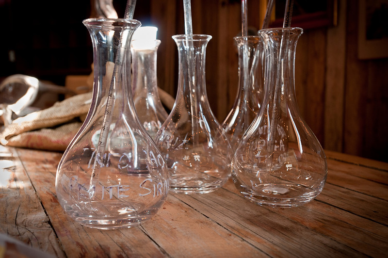 These were our wine making aparatii. They filled the different vintages of port in these beakers, then we pipetted out the wine into our own (smaller) beakers