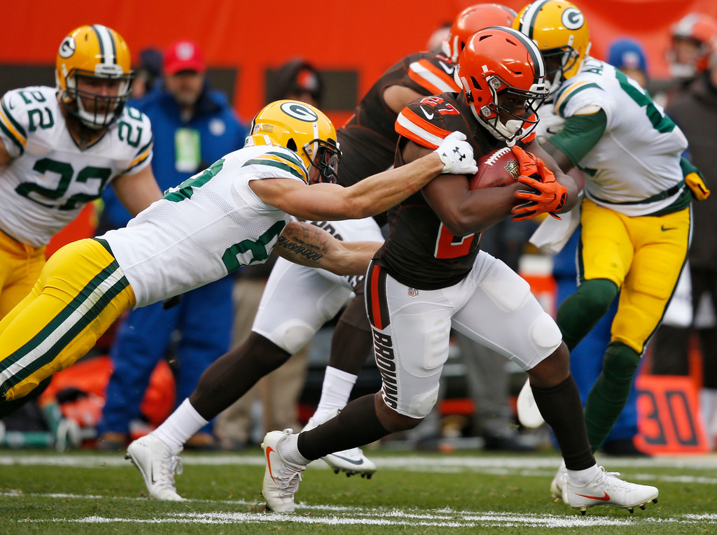 . Cleveland Browns running back Matt Dayes (27) runs the ball in the second half of an NFL football game against the Green Bay Packers, Sunday, Dec. 10, 2017, in Cleveland. (AP Photo/Ron Schwane)