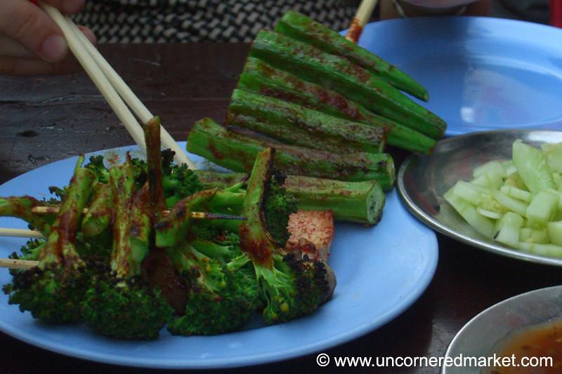 Burmese Food, Grilled Okra and Broccoli - Rangoon, Burma (Yangon, Myanmar)