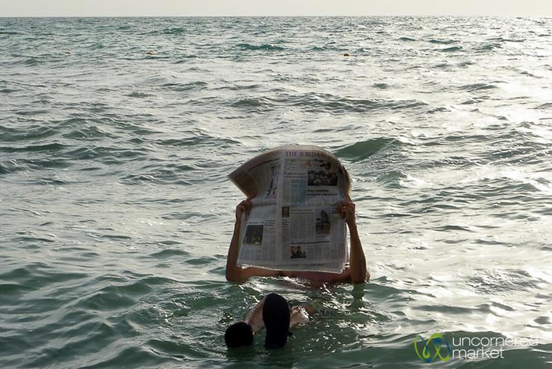 A Little Newspaper Reading on the Dead Sea, Jordan