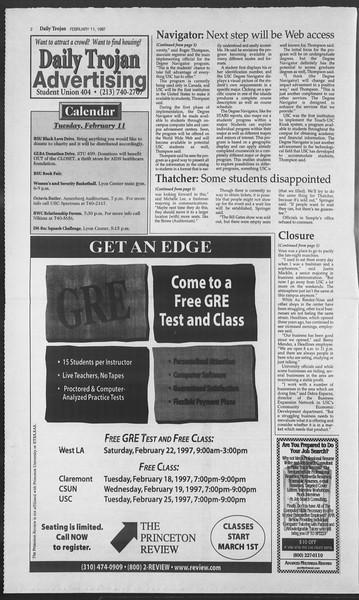 Daily Trojan, Vol. 130, No. 22, February 11, 1997