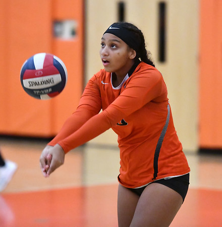 10/18/2019 Mike Orazzi | StaffrGoodwin Tech's Korina Trammell (15) during Friday night's girls volleyball match with Terryville in Terryville. r