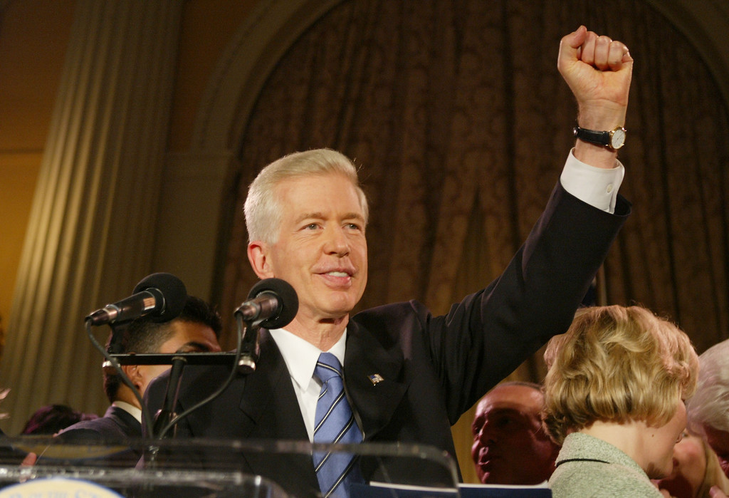 . LOS ANGELES - OCTOBER 7:   California Governor Gray Davis gives his concession speech to supporters after learning he has lost the California gubernatorial recall election to actor Arnold Schwarzenegger at the Millennium Biltmore Hotel in the Crystal Ballroom, October 7, 2003 in Los Angeles, California.  (Photo by David McNew/Getty Images)