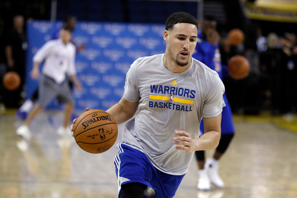 . Golden State Warriors\' Klay Thompson dribbles during an NBA basketball practice, Wednesday, May 31, 2017, in Oakland, Calif. The Golden State Warriors face the Cleveland Cavaliers in Game 1 of the NBA Finals on Thursday in Oakland. (AP Photo/Marcio Jose Sanchez)