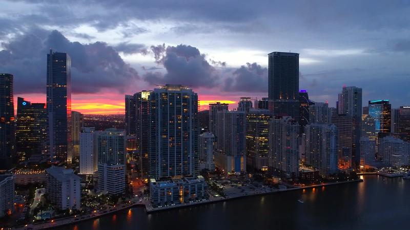 Aerial Brickell Bay Drive Miami Florida