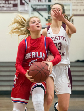 01/10/20 Wesley Bunnell | StaffrrThe Bristol Central girls basketball team was defeated at home on Friday night by Berlin. Berlin's Carly Grega (5) and BC's Ella Watson (23).