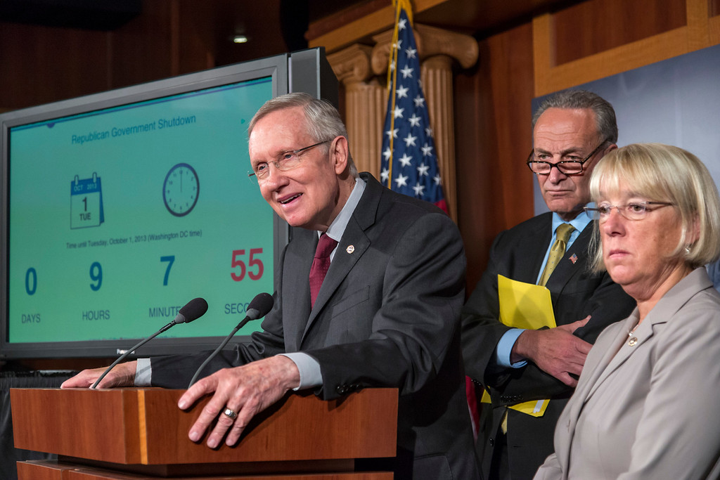 . From left, Senate Majority Leader Harry Reid, D-Nev., Sen. Chuck Schumer, D-N.Y., and Sen. Patty Murray, D-Wash., chair of the Senate Budget Committee, speak to reporters after the Democratic-led Senate rejected conditions that House Republicans attached to a temporary spending bill, at the Capitol in Washington, Monday, Sept. 30, 2013.  (AP Photo/J. Scott Applewhite)