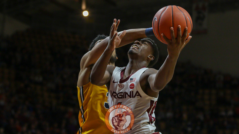 Nahiem Alleyne is fouled as he attempts a layup in the second half. (Mark Umansky/TheKeyPlay.com)