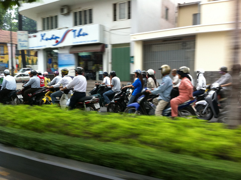 Back to the hustle of city traffic, Vietnam style.