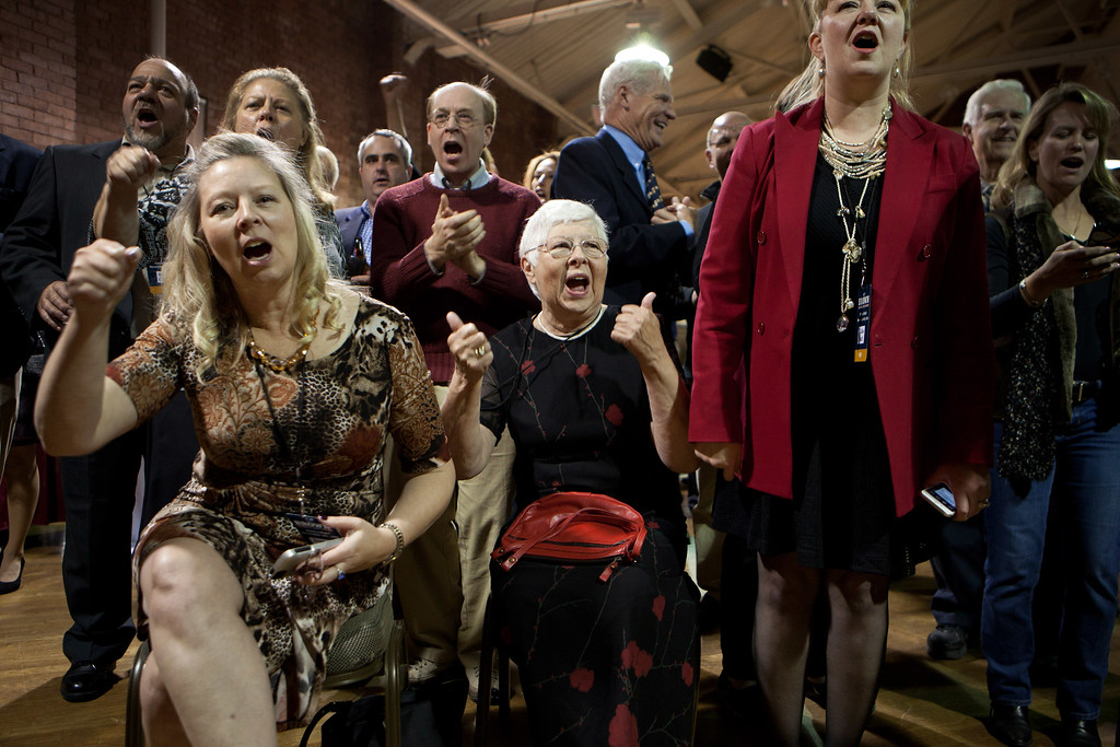 . MANCHESTER, NH - NOVEMBER 4:  Supporters of Republican Senate candidate Scott Brown react to news at the Republican Victory Party at the Radisson Hotel on November 4, 2014 in Manchester, New Hampshire. Brown lost in a tight race against opponent U.S. Sen. Jeanne Shaheen (D-NH).  (Photo by Kayana Szymczak/Getty Images)
