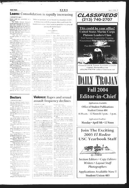 Daily Trojan, Vol. 151, No. 48, April 02, 2004