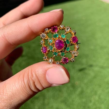 3.72ctw Vintage Multi-Gemstone Brooch