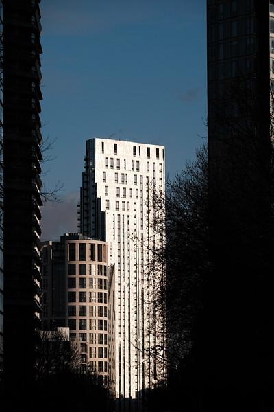 Modern high-rise buildings along City Road, London, United Kingdom