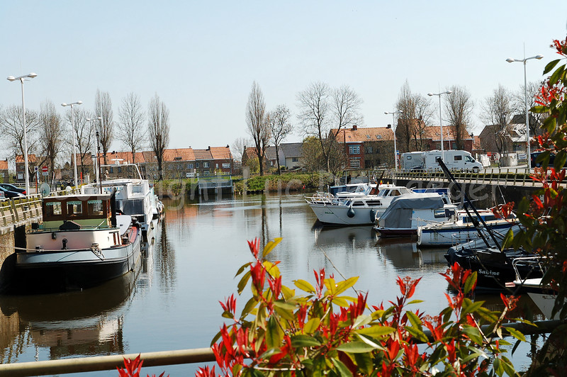 The yachting harbor in Veurne, Belgium.