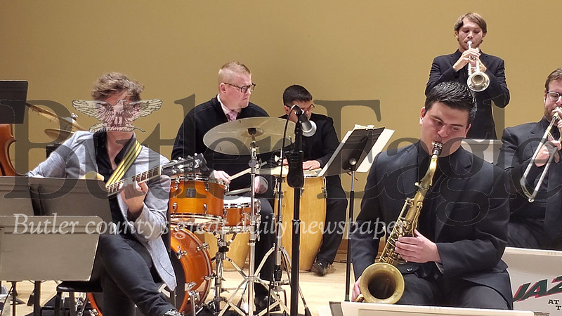 Guest artist Pat Kennedy played the drums at Thursday night's SRU Jazz Ensemble. Photo by Nathan Bottiger