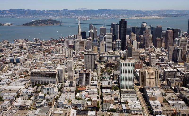 A bird's eye view of Downtown San Francisco.