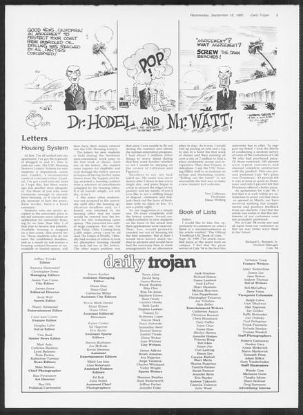 Daily Trojan, Vol. 100, No. 12, September 18, 1985