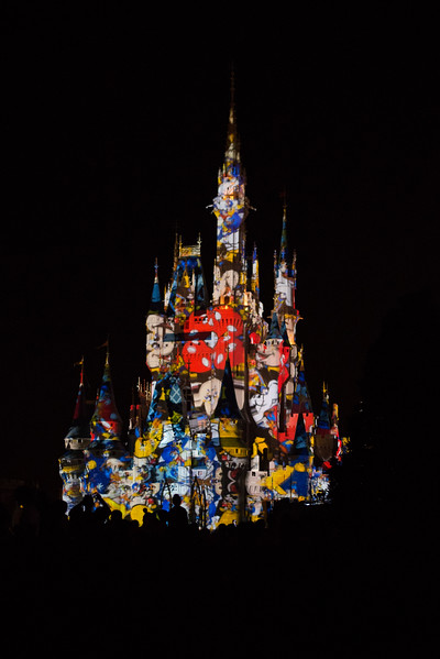 Mickey and MInnie displayed on the castle