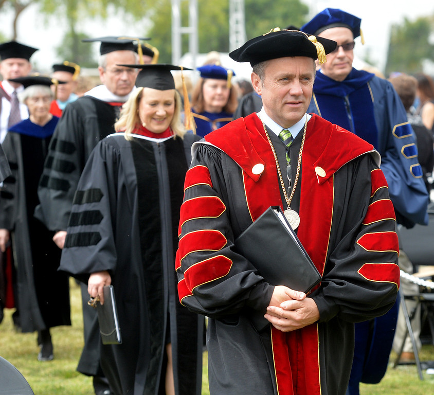 . Dr. Barry Corey leads the procession during the Commencement Ceremony at Biola University in La Mirada on Friday May 23, 2014. Kay Warren, International speaker and author, gives the commencement address. (Photo by Keith Durflinger/Whittier Daily News)