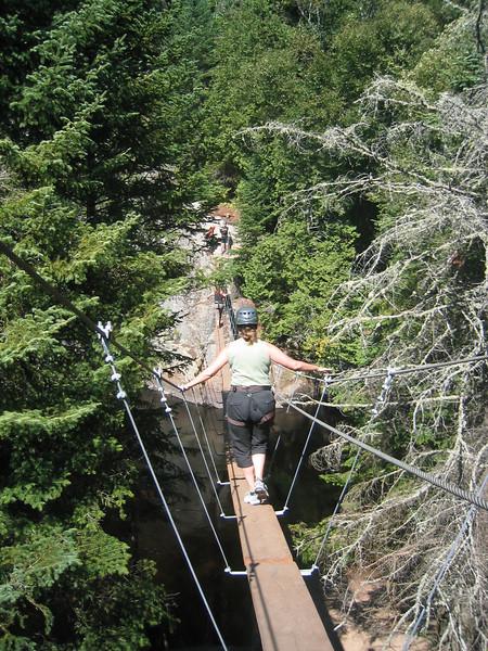 First Suspended Bridge. Via ferrata du Diable, park national du Mont-Tremblant