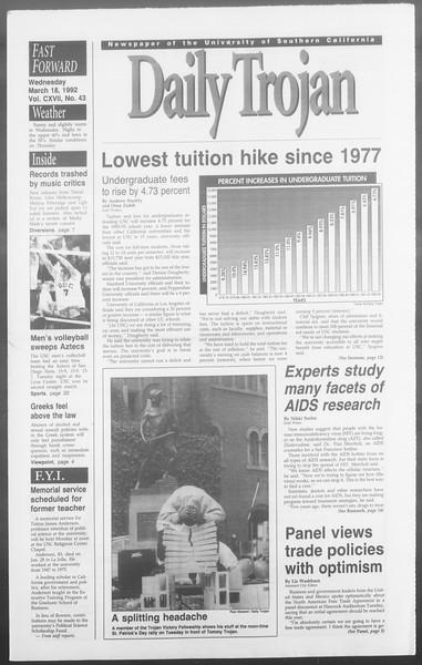Daily Trojan, Vol. 117, No. 43, March 18, 1992