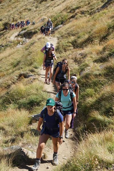 Mia leading Ms. Mazur, Lilli, Bella, Paige, and Annika up the hill