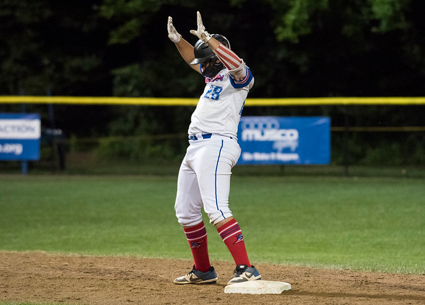 08/09/19 Wesley Bunnell | Staff New Jersey defeated Washington, DC on Friday August 9, 2019 in a Little League Baseball Eastern Regional Tournament game with New Jersey heading to the final on Saturday to face New York. Yady Mateo (28) motions back to his dugout after a double.