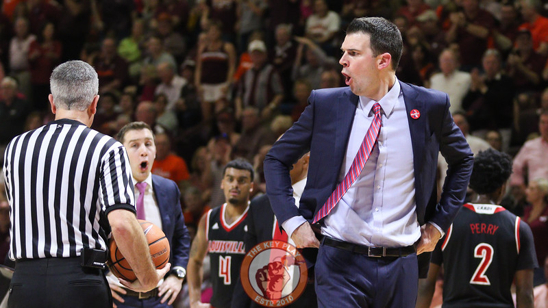 Louisville head coach David Padgett yells at the referees after a foul was called against his team in the first half. (Mark Umansky/TheKeyPlay.com)
