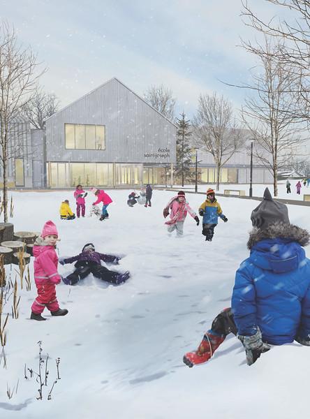 Vue extérieure hivernale - Consortium Lucie Paquet + Paulette Taillefer + Leclerc architectes - Lauréat Lab-École - Maskinongé
