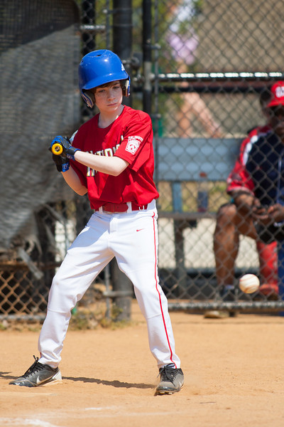 Sam at bat in the bottom of the 2nd inning. The Nationals played a close and exciting game against the Cubs before being outscored in the 6th inning, losing 8-9. They are now 2-1 for the season. 2012 Arlington Little League Baseball, Majors Division. Nationals vs Cubs (21 Apr 2012) (Image taken by Patrick R. Kane on 21 Apr 2012 with Canon EOS-1D Mark III at ISO 200, f2.8, 1/3200 sec and 300mm)