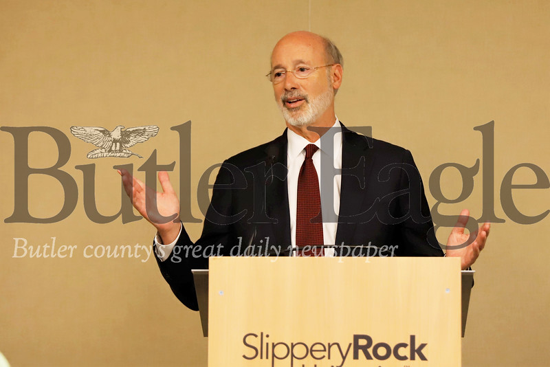 Governor Tom Wolf addresses media, faculty and a small group of students at a news conference at Slippery Rock University Wednesday following a round table discussion pertaining to sexual violence issues on college campuses. Seb Foltz/Butler Eagle