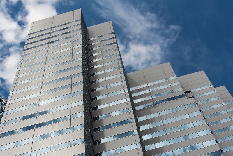Low-angle view of Shinjuku L Tower, skyscraper in Nishi-Shinjuku business district, Tokyo, Japan