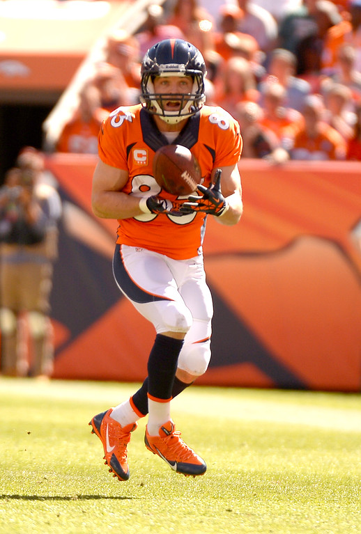 . Denver Broncos wide receiver Wes Welker (83) catches a pass during the first quarter. Welker ran the ball into the end zone for the Broncos first touchdown. (Photo by John Leyba/The Denver Post)