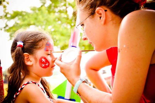 Facepainting at the Maumelle, AR 4th of July Celebration
