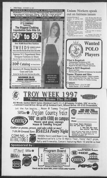 Daily Trojan, Vol. 132, No. 58, November 19, 1997