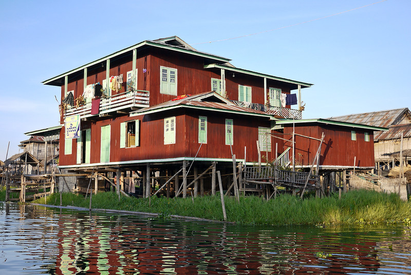 A tall wooden house on Inle Lake, Burma (Myanmar).