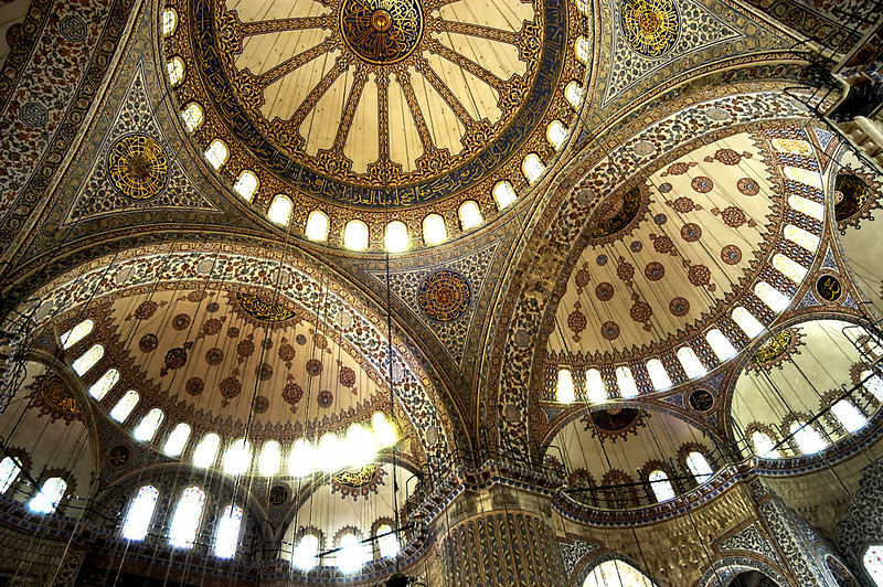 Interior of the Sultan Ahmed Mosque. 