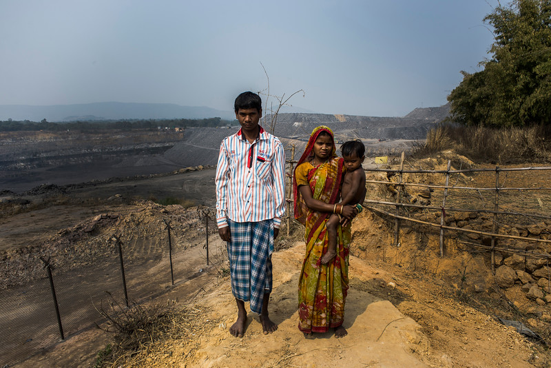 Chattisgarh, India, February 2015:   Balkumar Rathiya and his family live on the edge of Jindal open cast coal mines. The family land has been taken over by Jindal corporation.    Photographs for a story on land allocation for coal mines in Chattisgarh.  Modi's new government in the centre has relaxed the environmental regulations so the land can be allocated to both public and private sector companies easily.   Photo by Sami Siva for Al Jazeera America.