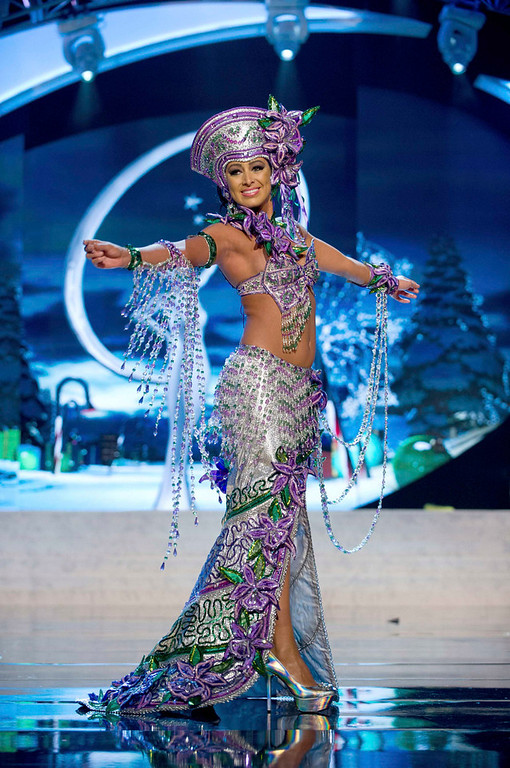 . Miss Costa Rica Nazareth Cascante performs onstage at the 2012 Miss Universe National Costume Show at PH Live in Las Vegas, Nevada December 14, 2012. The 89 Miss Universe Contestants will compete for the Diamond Nexus Crown on December 19, 2012. REUTERS/Darren Decker/Miss Universe Organization/Handout