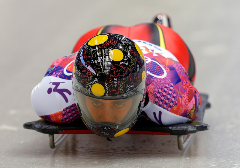 . Ander Mirambell of Spain starts his first run during the men\'s skeleton competition at the 2014 Winter Olympics, Friday, Feb. 14, 2014, in Krasnaya Polyana, Russia. (AP Photo/Natacha Pisarenko)