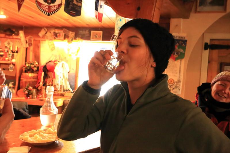 Vodka well enjoyed.. Dee looks on..   Akademik Vernadsky Station, Galindez Island 65 15S, 64 16W