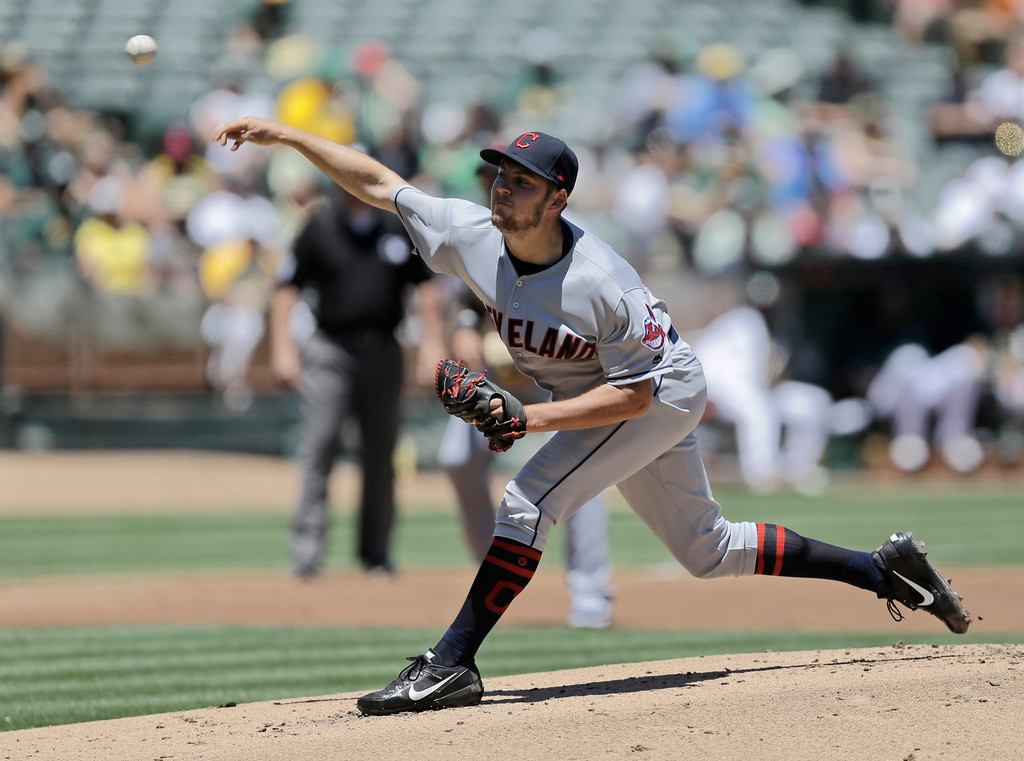 . Cleveland Indians pitcher Trevor Bauer works against the Oakland Athletics in the first inning of a baseball game, Sunday, July 16, 2017, in Oakland, Calif. (AP Photo/Ben Margot)