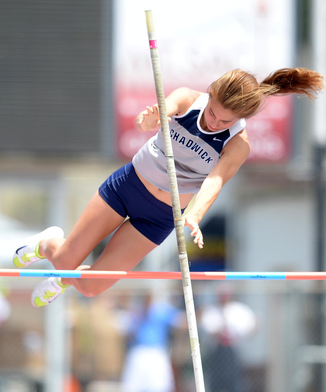 . Chadwick\'s Samantha Speroni competes in the Division 4 pole vault of the CIF Southern Section Track and Field Championships Saturday at Mt. SAC. 20130518 Photo by Steve McCrank / Staff Photographer