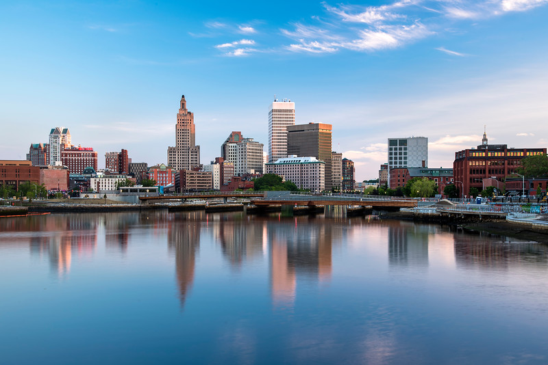 Providence Skyline reflected in Providence river, Rhode Island.