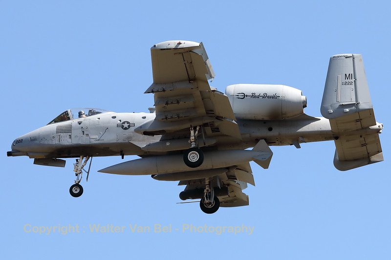 """A USAF A-10C Thunderbolt II (80-0222; cnA10-0572), with lots of mission markings, is seen here on final for RWY05 at ETAD. This A-10C belongs to the 107th Fighter Squadron """"Red Devils"""", which is a unit of the Michigan Air National Guard 127th Wing. It is assigned to Selfridge Air National Guard Base, Michigan."""