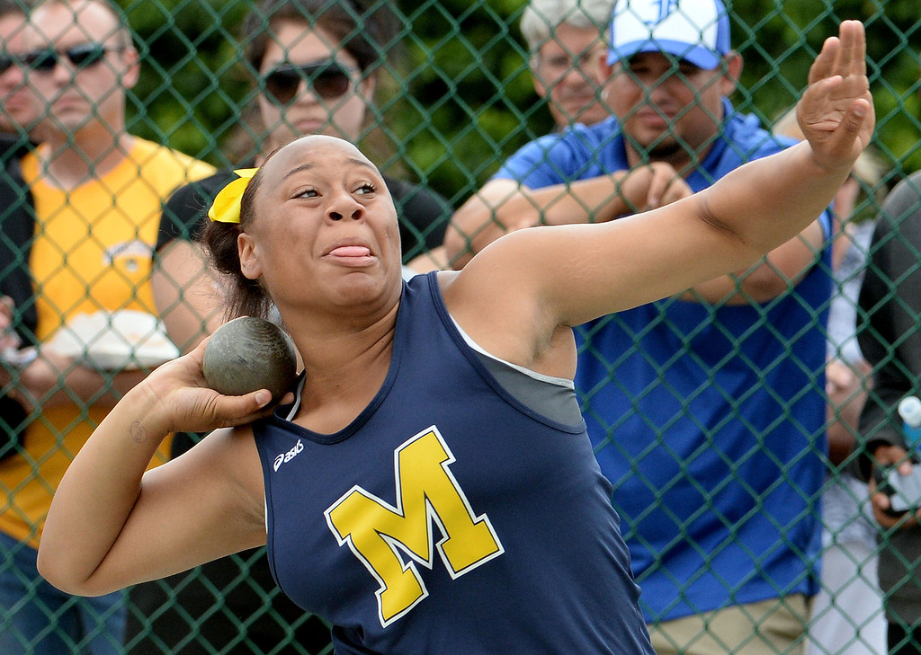 . Muir\'s Tierra Adams competes in the division 4 shot put during the CIF Southern Section track and final Championships at Cerritos College in Norwalk, Calif., on Saturday, May 24, 2014.   (Keith Birmingham/Pasadena Star-News)