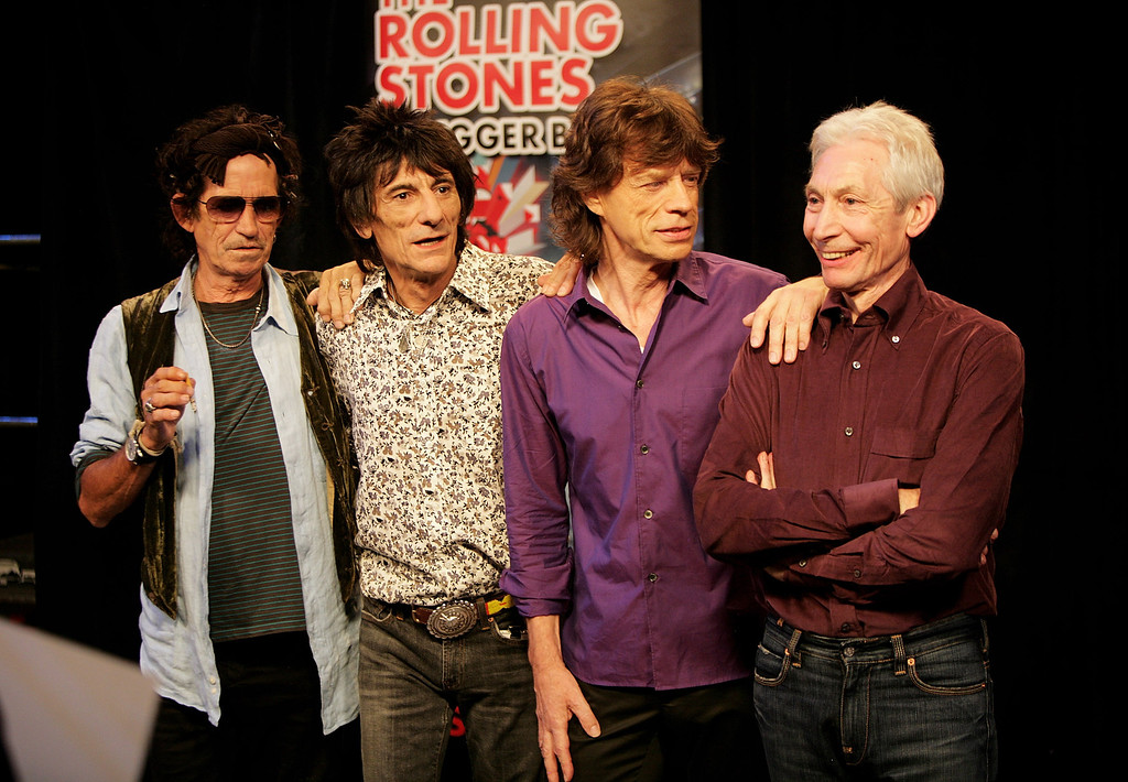 . (L-R) Keith Richards, Ronnie Wood, Mick Jagger and Charlie Watts of The Rolling Stones pose for a photograph during a dress rehearsal prior to the opening concert of the 2007 European leg of their \'A Bigger Bang\' World Tour at the Videohouse on June 1, 2007 in Brussels, Belgium.    (Photo by Getty Images)
